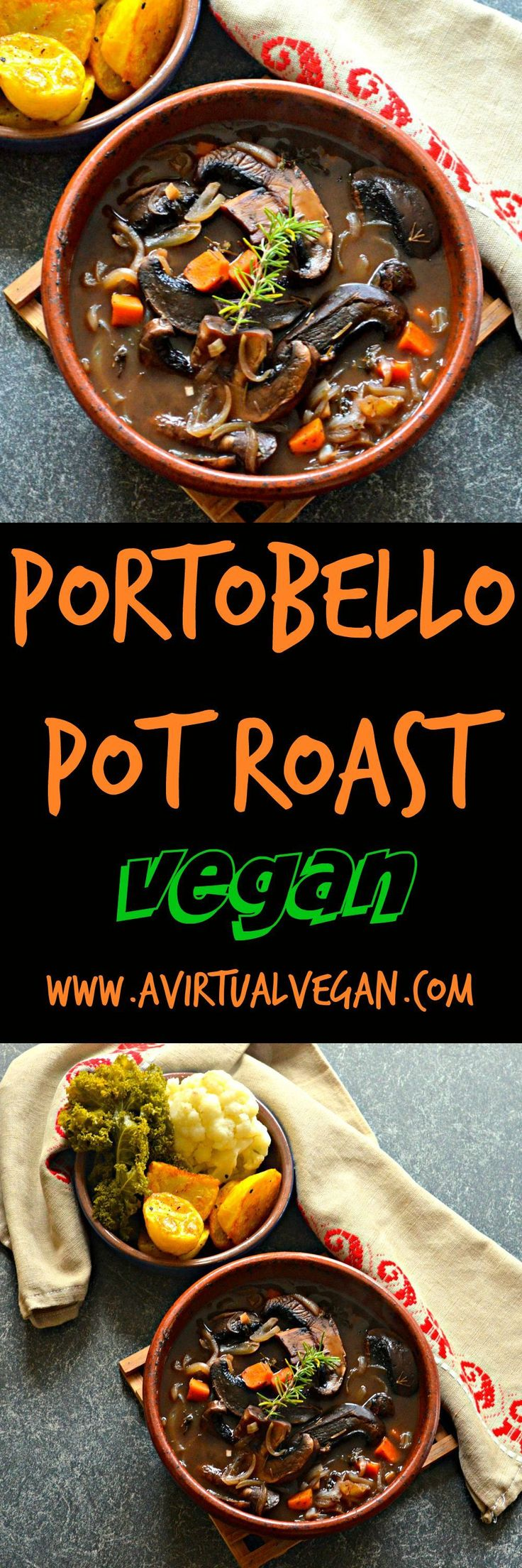 Rich and hearty Portobello Pot Roast. Meaty portobello mushrooms, red wine, herbs & vegetables combine to make a delicious plant-based feast. Perfect for Christmas!