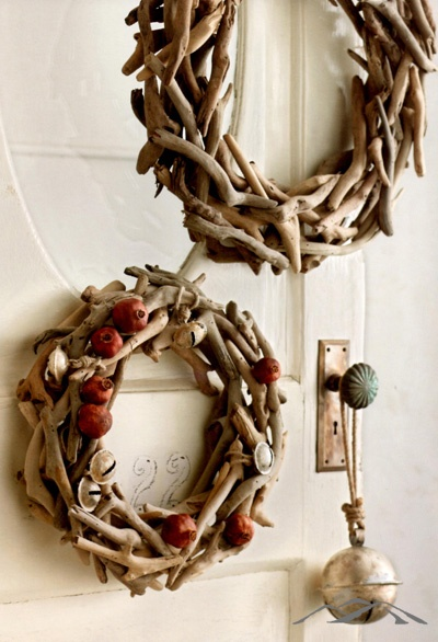 Driftwood Wreath. Rustic wreathes crafted from carefully selected driftwood pieces add a natural element to Christmas decor. Adorn them with lights, small ornaments, preserved pomegranates or antiqued silver bells. After the Christmas season, use as a year round rustic wood wreath. Rustic Christmas Decorations. Natural Christmas. Simple Christmas. Country Christmas. Mountain Christmas.