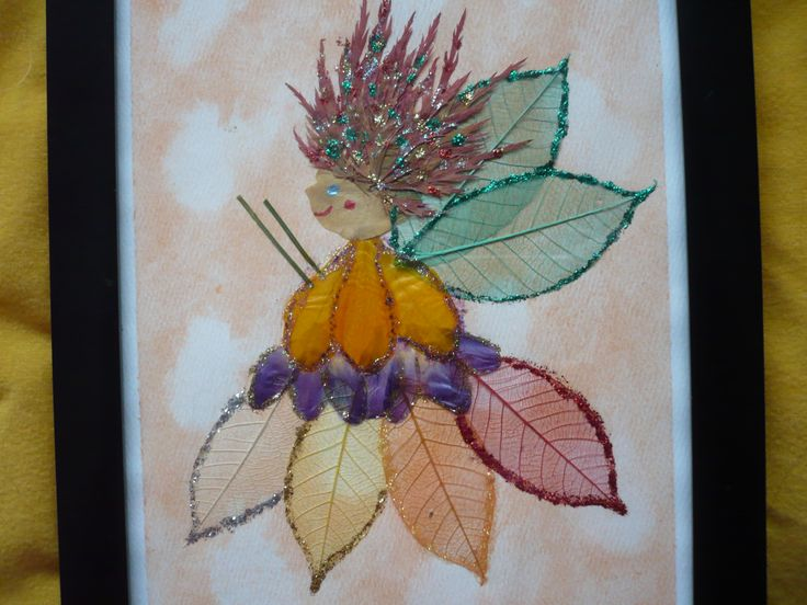 My Autumn Fairy, Miss Leaf made of pressed botanicals
