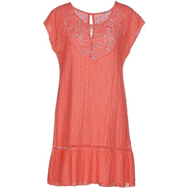 Risskio Short Dress ($65) ❤ liked on Polyvore featuring dresses, coral, red mini dress, short-sleeve lace dresses, short sleeve lace dress, short-sleeve dresses and short dresses