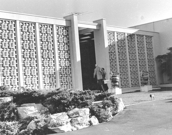 The concrete block screen - Need this. Home where Debbie Reynolds and Harry Karl lived.