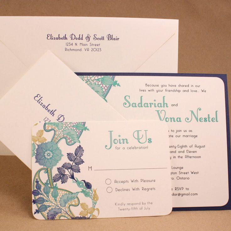 BRIDAL BATIK Layered Wedding Invitation by ChikPeaDesigns