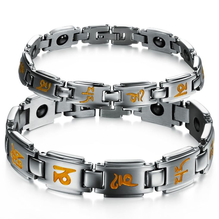 2016 Energy Magnetic Stone Six-words Prayer Couple Bracelets 316L stainless steel Jewelry wholesale Boyfriend Gift Free Shipping