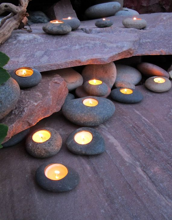 Tealight Rock Candle Holders Set of 3 by Momadic on Etsy | Could probably make these with sculpey