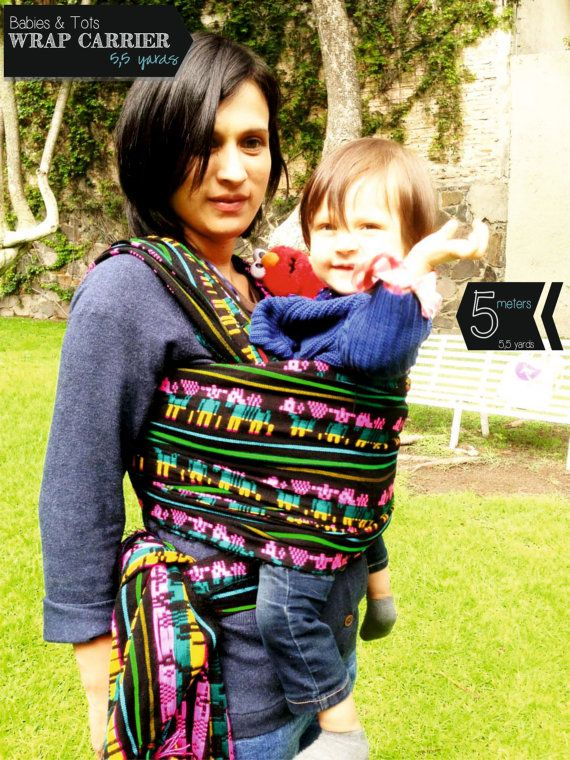 Baby Wrap Carrier Mexican Black Background With Traditional Pattern