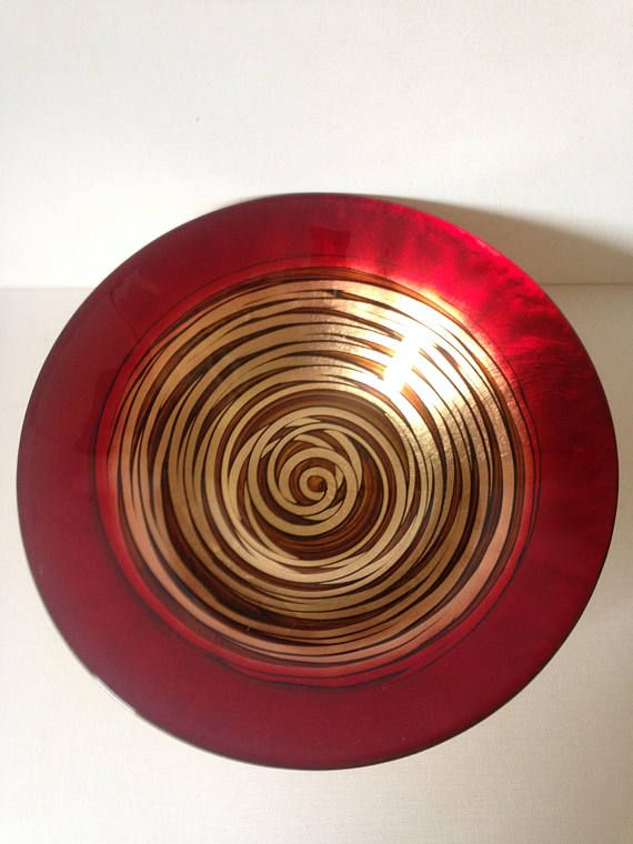 Red And Gold Decorative Bowl Large Fruit Retro Home