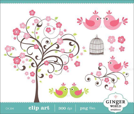 Cherry flower tree love bird clip art digital by GingerWorld, $5.00