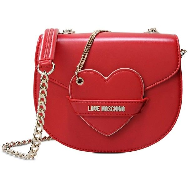 Love Moschino Small Fabric Bag found on Polyvore featuring bags, handbags, red, red bag, metallic purse, strap bag, love moschino handbags and metallic handbags