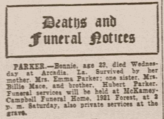 Bonnie Parker's obituary