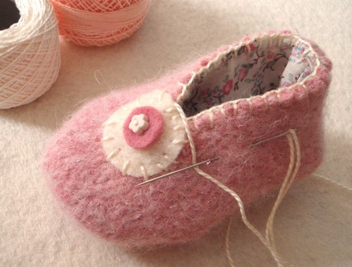 DIY felted wool baby bootie