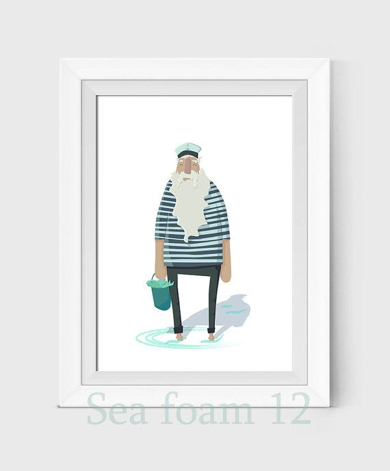 Sailor Illustration Print Fisherman  Drawing Sailor by SEAFOAM12