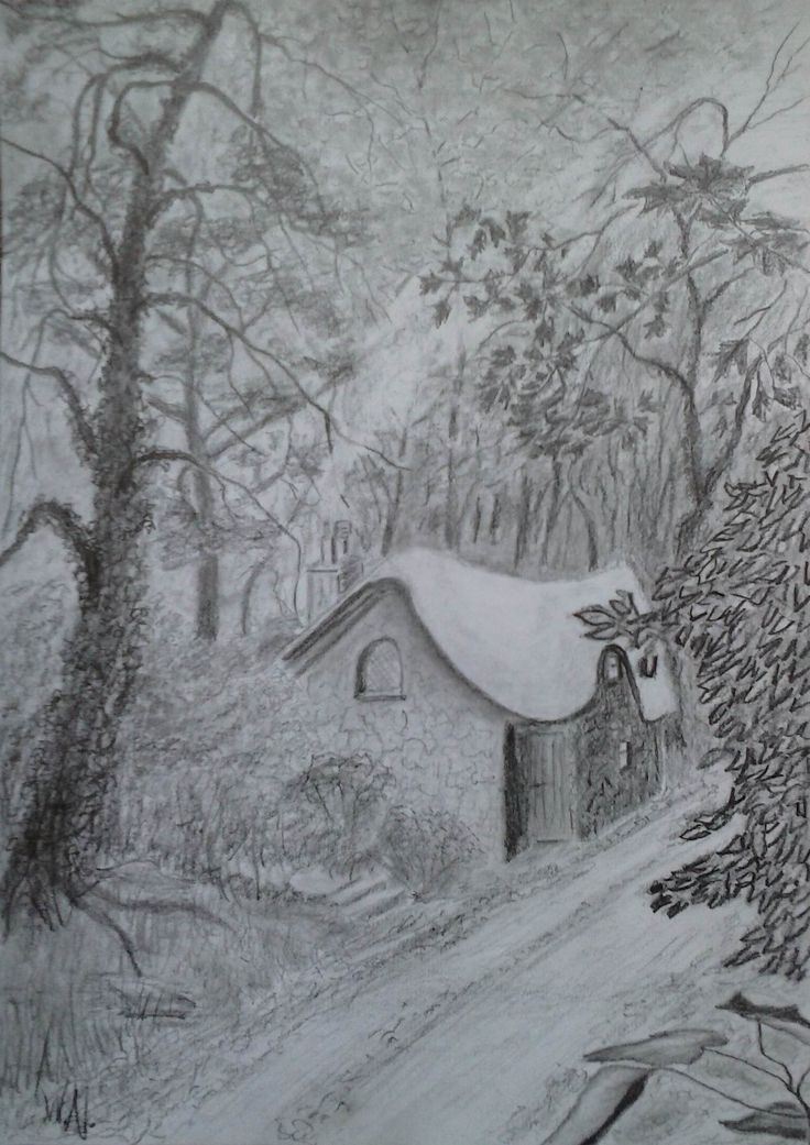Cottage in woods. Charcoal on board