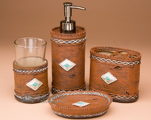 4 piece rustic native bath set navajo bs10 - Bathroom Accessories Las Vegas