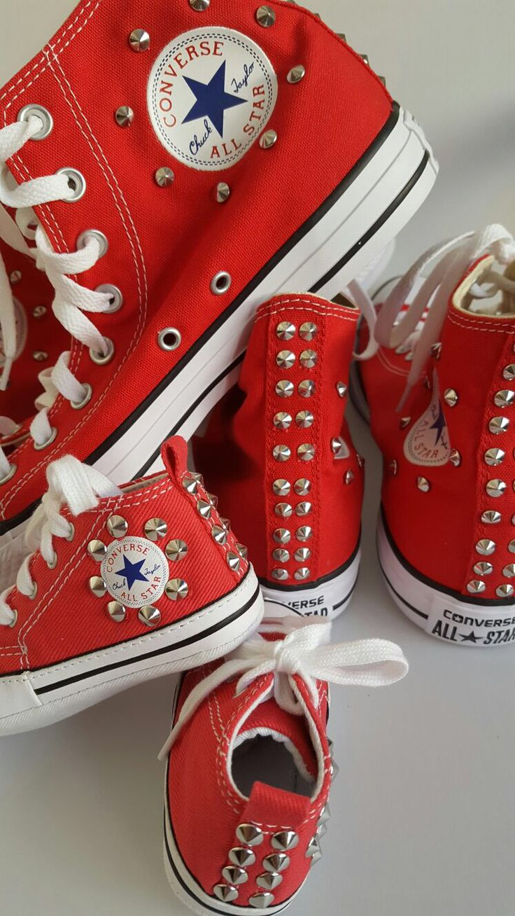 All Star converse: handmade customization using silver studs.  Glamourize@ectarget.com