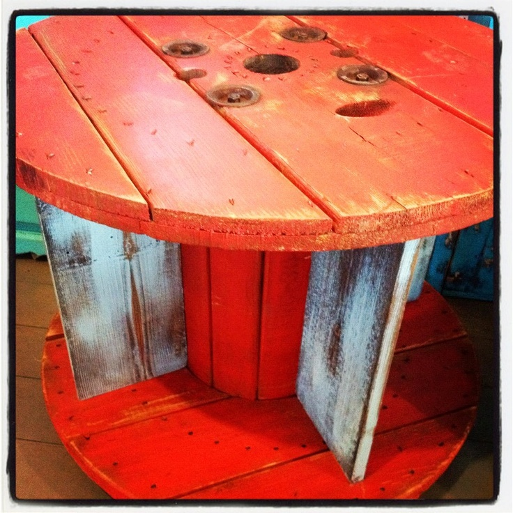 red/blue spool table