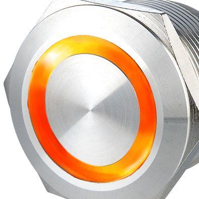 22mm Stainless Steel latching Waterproof  Metal Led Car Switch with 6V 12V 24V 110V 230V Orange Ring  LED #Affiliate