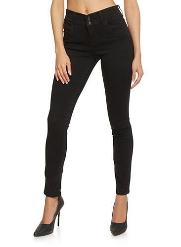 Highway Classic High Waisted 3 Button Closure Skinny Jeans,JET BLACK