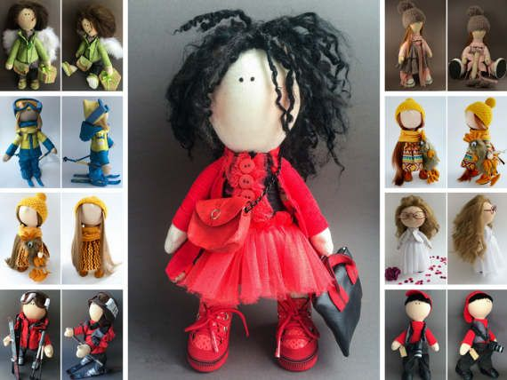 Muñecas Soft doll Handmade doll Tilda doll Interior doll Bambole Puppen Rag doll Textile doll Art doll Green doll Fabric doll by Oksana K