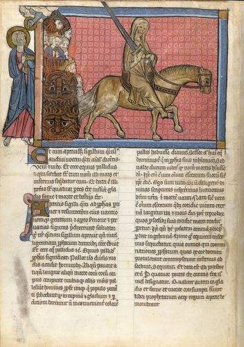 The Pale Horse Apocalypse, fragment with commentary by Berengaudus France, N.E. (Lorraine: Metz or Verdun); 4th quarter of the 13th century