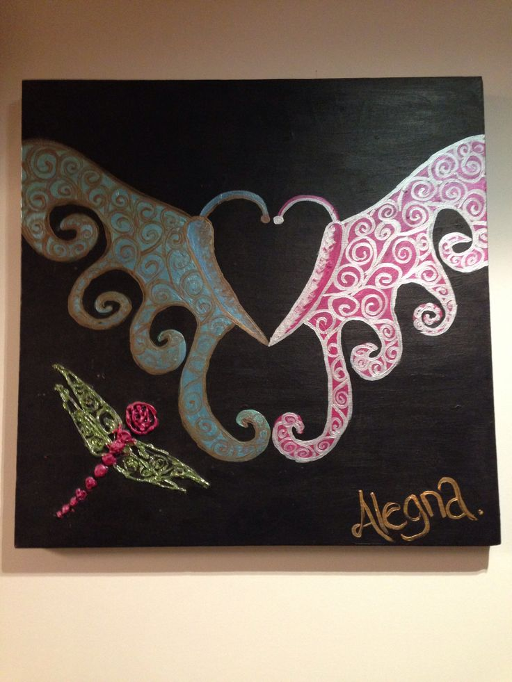 Butterfly love,  Acrylic painting by myself Alegna.