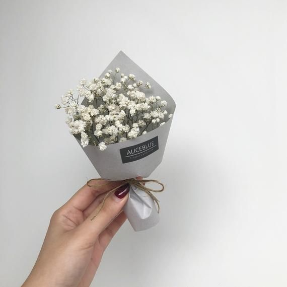 Mini Dried Baby S Breath Flower Bouquet Original Kraft In 2020 Flowers Bouquet Flower Bouquet Diy Small Flower Bouquet