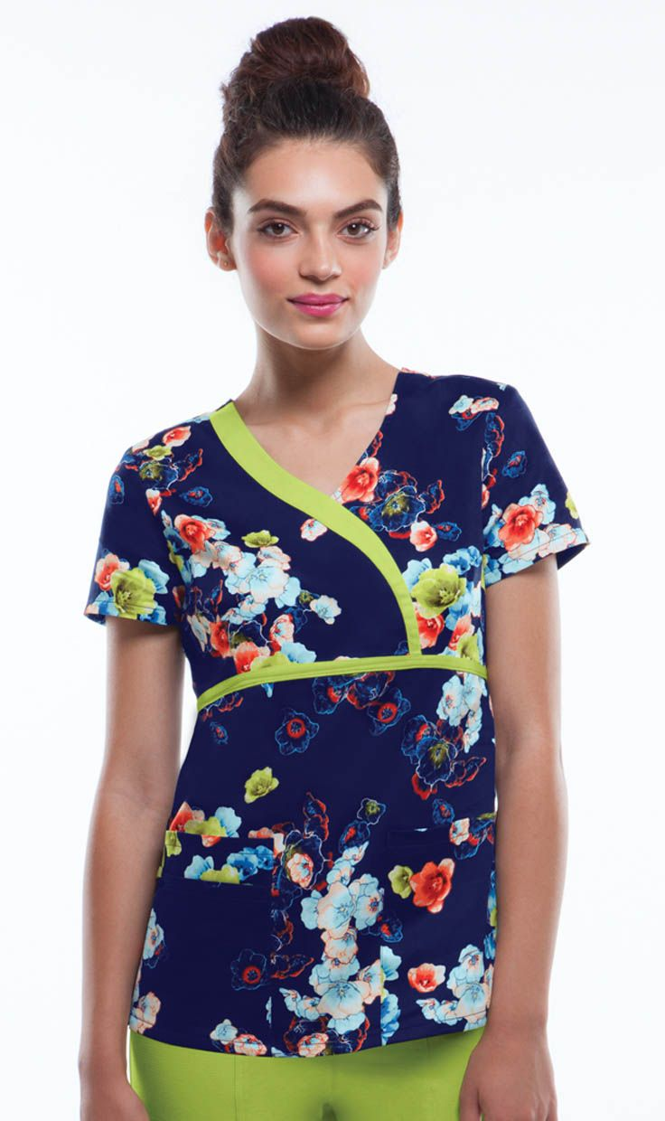 HeartSoul Mock wrap top in ELECTRAL FLORAL | Alegria Cherokee Store #scrubs #uniforms #CharlotteNC