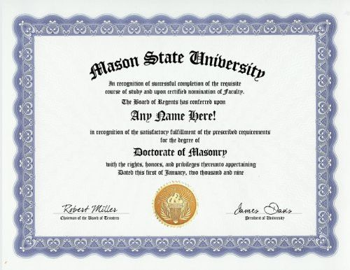 Mason Masonry Degree: Custom Gag Diploma Doctorate Certificate (Funny Customized Joke Gift - Novelty Item)