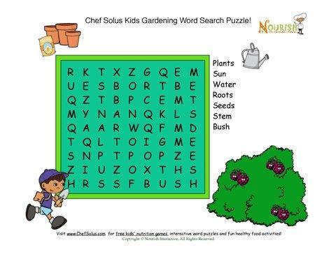 Kids Garden Fun Word Search Puzzle Gardening With Kids