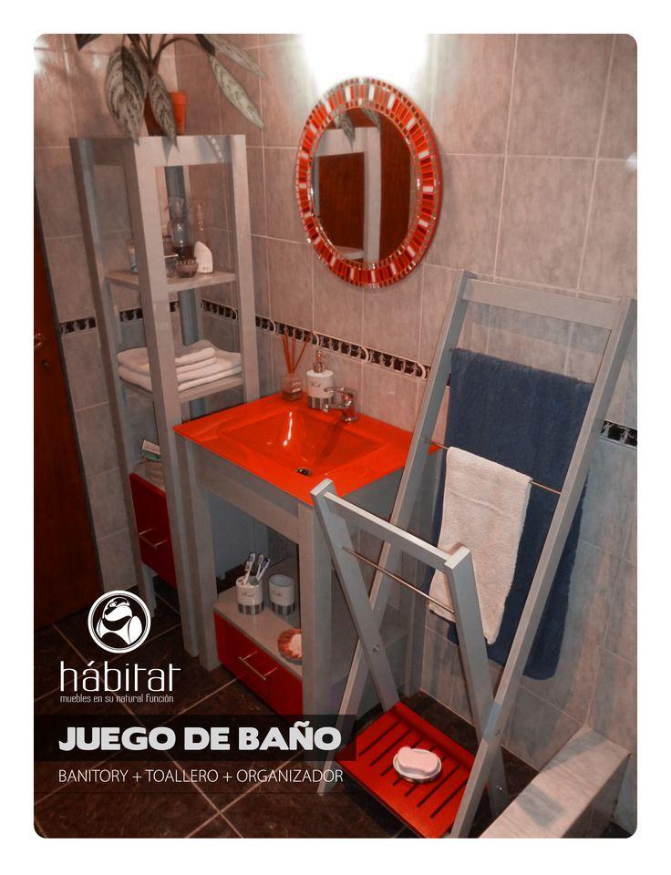 JUEGO DE BAÑO: banitory, organizador y toallero, totalmente laqueados. Con correderas y tiradores de metal y barrales de acero inoxidable.