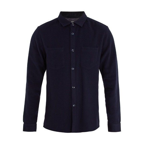 A.P.C. Fitz single-cuff wool-blend felt shirt (233,965 KRW) ❤ liked on Polyvore featuring men's fashion, men's clothing, men's shirts, men's casual shirts, navy, mens woven shirts, mens navy shirt, mens double cuff shirts and mens tailored shirts