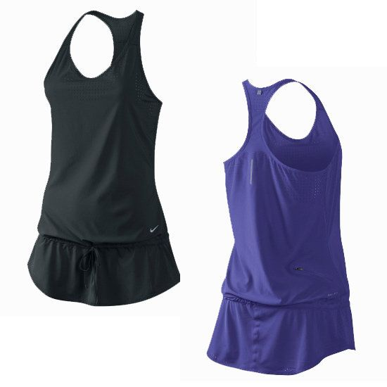 Nike Running Dress: If you want to cover your belly as well as your hips, slip on this Nike Running Dress ($84) over your leggings. The drawstring allows you to control how snug the top fits around your waist and the flowy fabric wont cling to your skin, even when you get sweaty. It comes in two dark colors to make your middle look even slimmer.