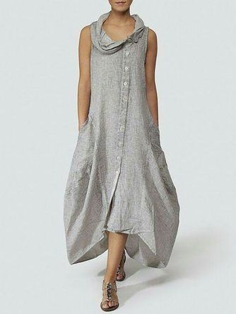 Women Solid Half Sleeve V neck Loose Casual Dress – JustFashionNow.com