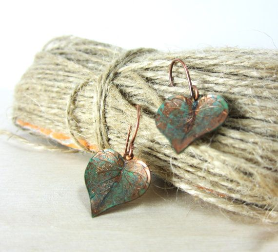 Leaf earrings   copper leaves with green by aGiftofLaughter