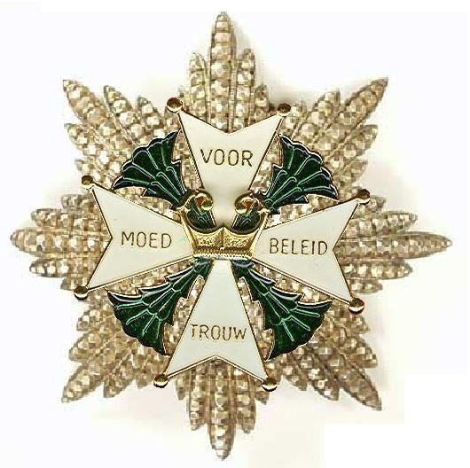 "Star of the Grand Cross of the Military William Order. Awarded for: ""Performing acts of excellent Bravery, Leadership and Loyalty in battle"". The Order's motto is Voor Moed, Beleid en Trouw (For Bravery, Leadership and Loyalty). As of 2013 (currently), only five knights of the Military William Order are still living; four are more than 85 years old."