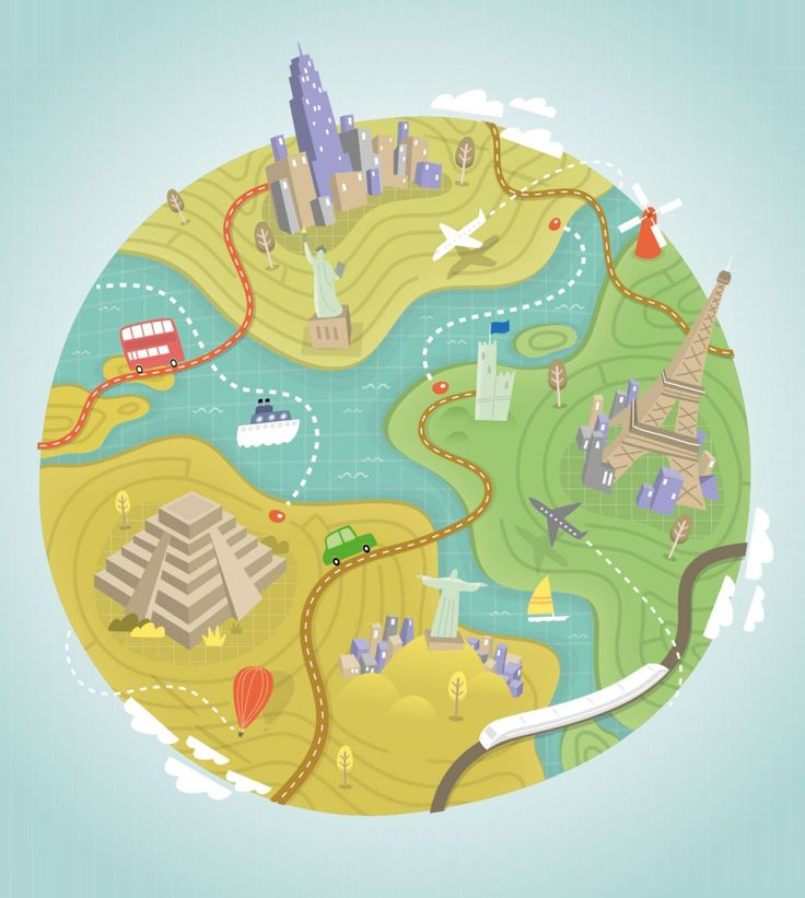 Tom Woolley - illustrated maps and hand lettering  World Globe Travel Illustration