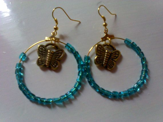 Hoops with turquoise beads by katerinaki106 on Etsy, $7.50