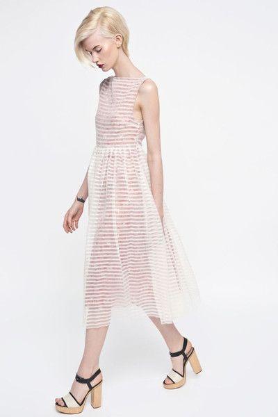 Sukienka transparentna w paski - MROVCA - Suknie wieczorowe