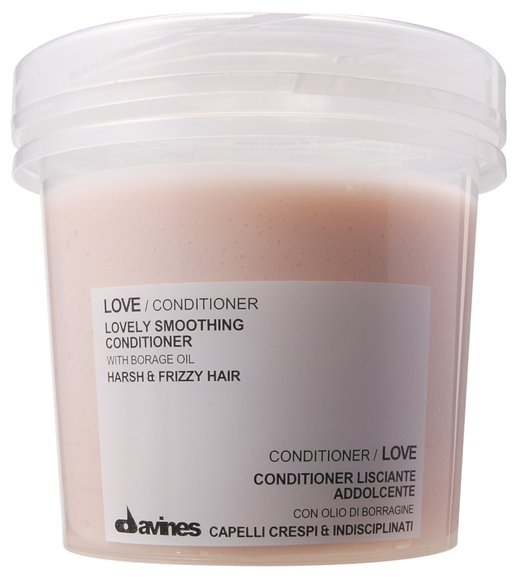 LOVE Smoothing Conditioner.    A creamy, rich treatment specifically formulated for harsh and frizzy hair. LOVE Smoothing Conditioner nourishes and moisturizes frizzy and undisciplined hair, lending an exceptionally smooth effect and leaving hair soft and shiny.     With its blend of conditioning agents, moisturizers and silicon, it makes hair easy to comb and glossy, thus eliminating the frizzy effect.    http://www.davines.com/en/products/view/love-conditioner-frizzy