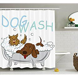 Playful Dogs Bathing In A Bathtub Bath Shower Curtain Set With Hooks, White  Brown Blue