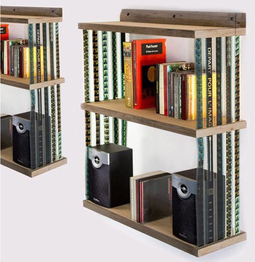 Collapsable-bookshelf-recycled-film-1_rect540: Movie Film, Idea, Film Shelves, 35Mm Film, Book Shelves, Film Strips, Hanging Bookshelves
