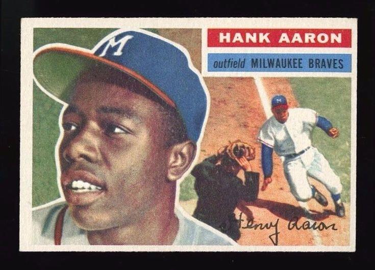 1956 TOPPS BASEBALL ~ #31 ~ HANK AARON ~ BLUE LINE VARIATION ~ MILWAUKEE BRAVES #MilwaukeeBraves