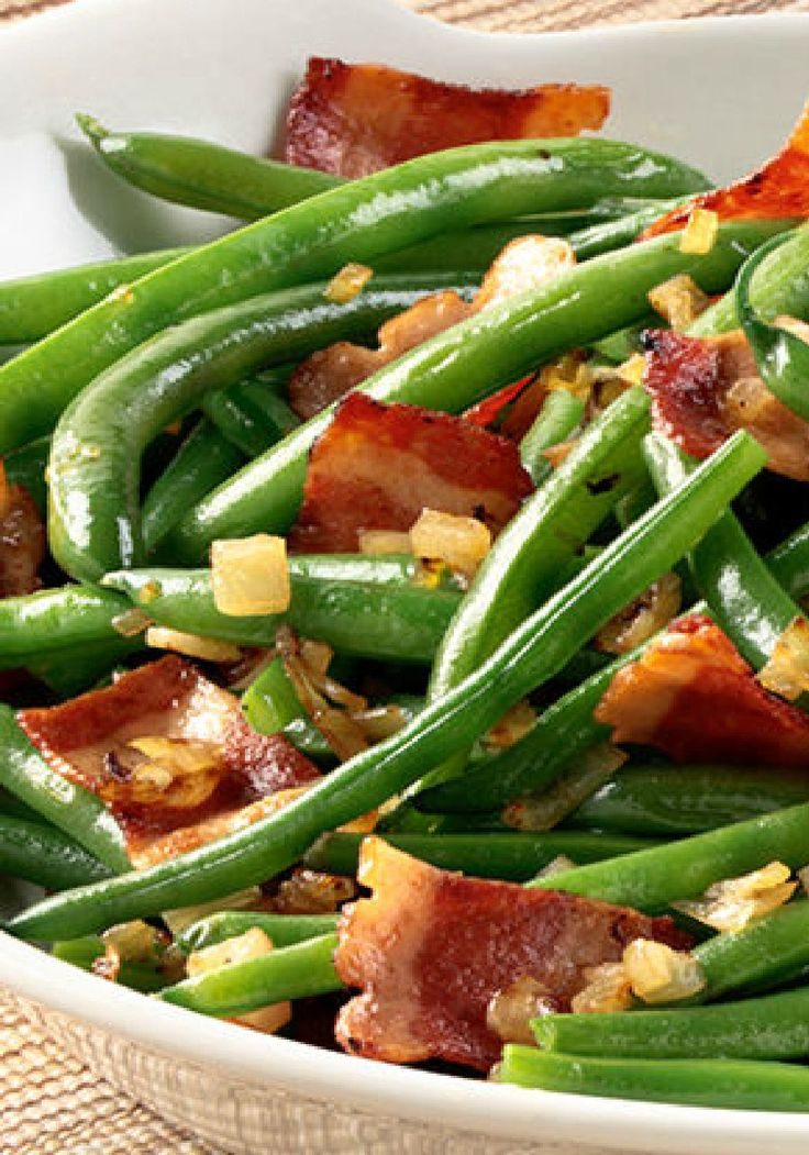 Green Bean, Bacon & Shallot Sauté – In this recipe, chopped shallots are skillet-sautéed in butter and added to this tasty green bean salad with savory pieces of turkey bacon. Talk about a side dish with tons of bold flavor.
