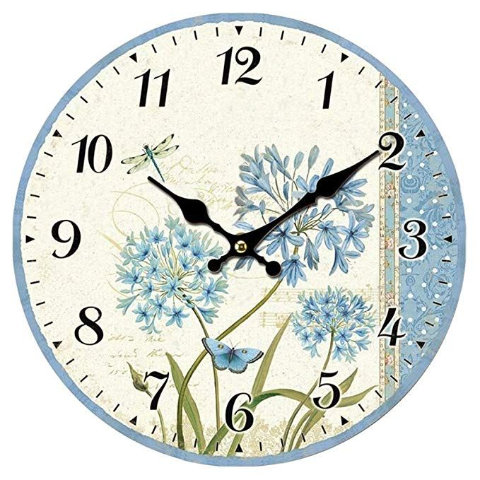 Amazon Com Swonda Wood Wall Clock 12 Inches Retro Style Non Ticking Silent Quartz Decorative Wall Clock For R Retro Wall Clock Hanging Clock Clock Wall Decor