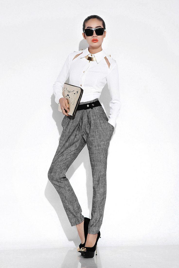 2013 high Fashion women's Skinny Long Trousers OL casual slim harem pants classic linen pants long trousers 3 choices size S-XXL $51.53 - 91.65