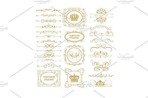 Gold decorative Elements for Your design. https://creativemarket.com/kio
