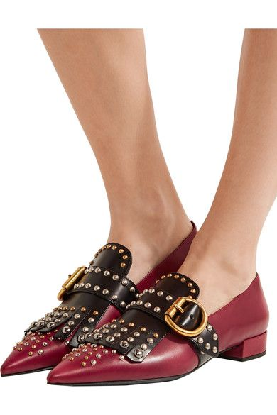 Prada - Studded Two-tone Leather Point-toe Flats - SALE20 at Checkout for an extra 20% off
