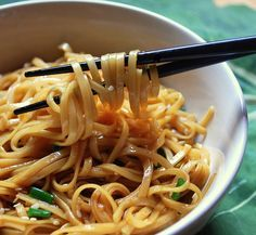 Simple Sesame Noodles:  Noodles, soy sauce, sugar, garlic, rice vinegar, sesame oil, and water!