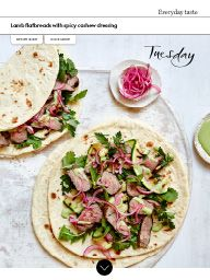 Waitrose Food November 2016: Lamb flatbreads with spicy cashew dressing