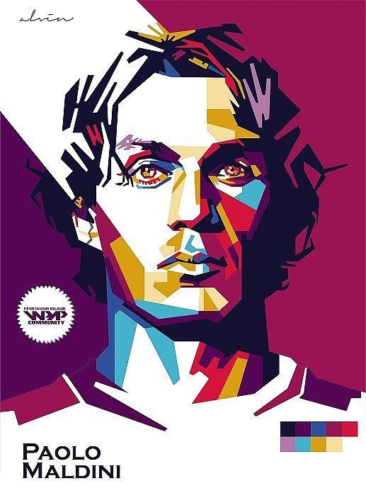Paolo #Maldini - Original Portraits by Alvin Nurul Imam - LATERAL IZQUIERDO