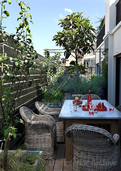 Great set up of small terrace: The terrace leading from the kitchen provides an outdoor eating area when the weather is fine.
